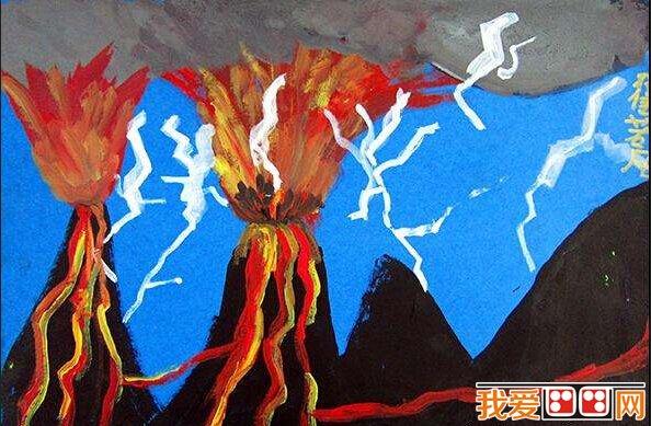 画:想象丰富的儿童水粉画作品欣赏(4)       我们知道火山分为