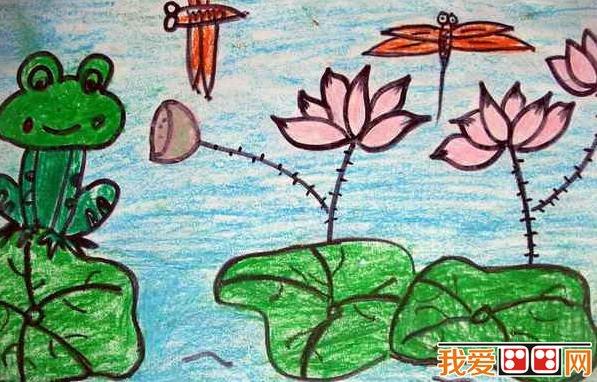 儿童画 夏日荷塘景色儿童蜡笔画欣赏 3高清图片