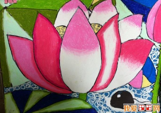 儿童画 夏日荷塘景色儿童蜡笔画欣赏 4