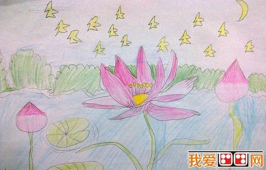 童画 夏日荷塘景色儿童蜡笔画欣赏 5