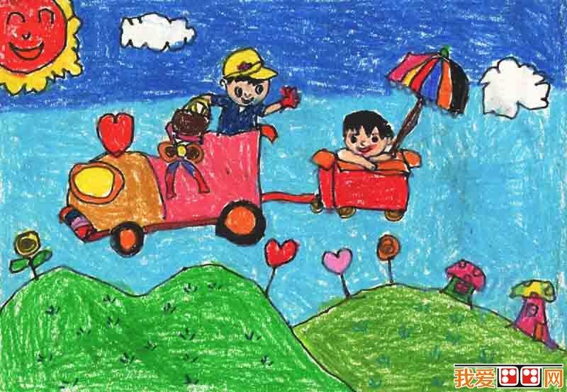 儿童画 暑假生活儿童蜡笔画欣赏 3