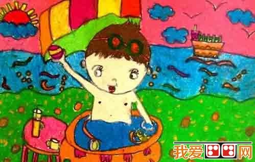 儿童画 暑假生活儿童蜡笔画欣赏 4