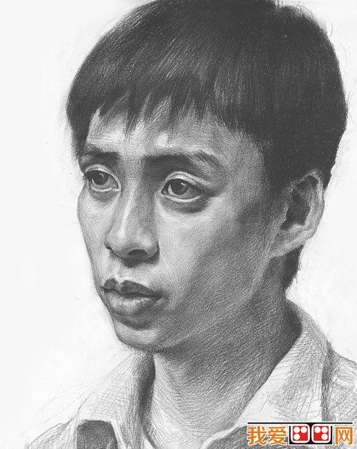 素描头像:男青年正侧面头像素描步骤
