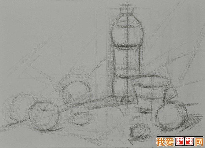 静物素描 可乐水果素描步骤图片