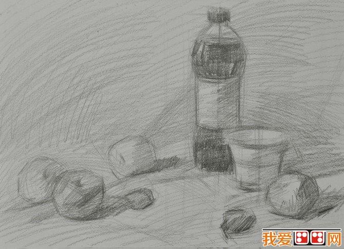 可乐水果素描步骤图片