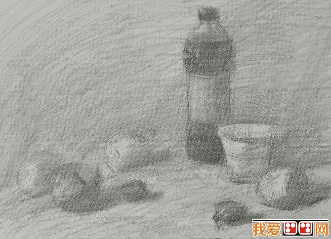 静物素描 可乐水果素描步骤