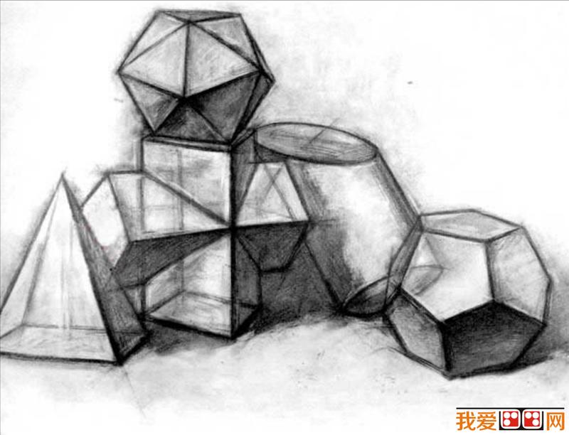 余角透视(二点透视)的基本规律;并通过石膏几何体的反复描摹加以理解.