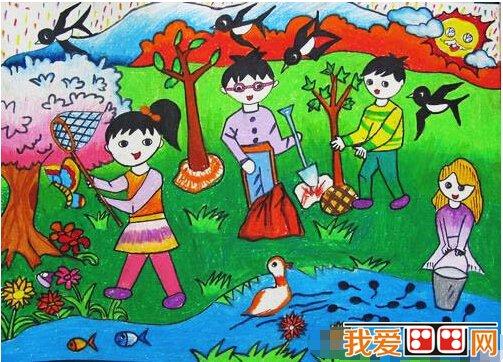 保护地球儿童水粉画作品欣赏(4)图片