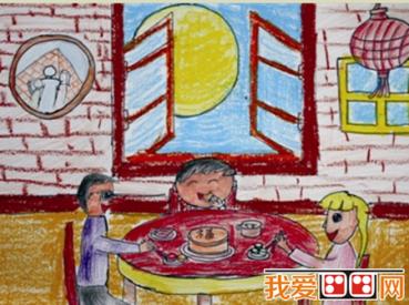 儿童画:夏日荷塘景色儿童蜡笔画欣赏