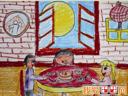 中秋节儿童蜡笔画作品欣赏_儿童画教程_学画画_我爱图片