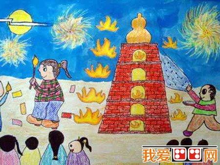 中秋节儿童蜡笔画作品欣赏 2