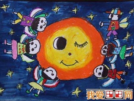 中秋节儿童蜡笔画作品欣赏(3)