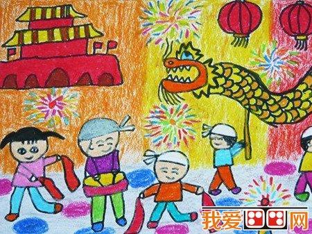 中秋节儿童蜡笔画作品欣赏 5