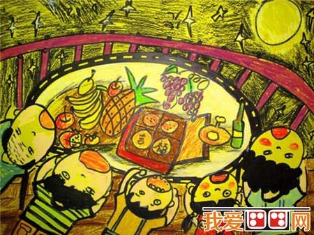 中秋节儿童蜡笔画作品欣赏 6