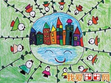 童画 夏日荷塘景色儿童蜡笔画欣赏 4