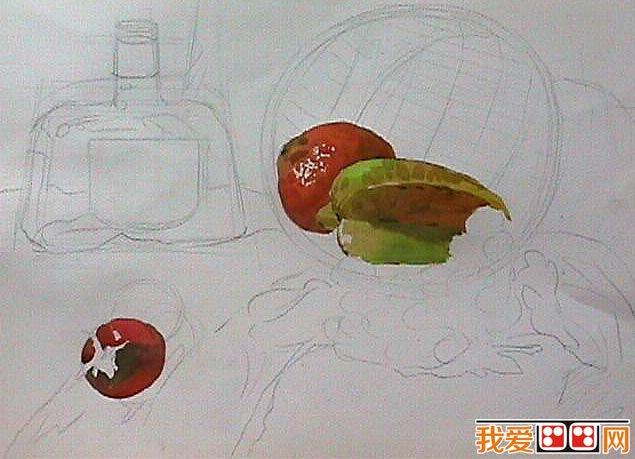 水彩画教程 水果和酒瓶静物水彩画教程
