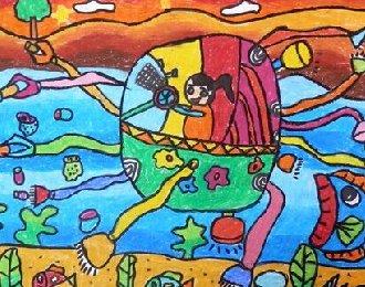 低碳环保科幻画图片学生儿童画欣赏