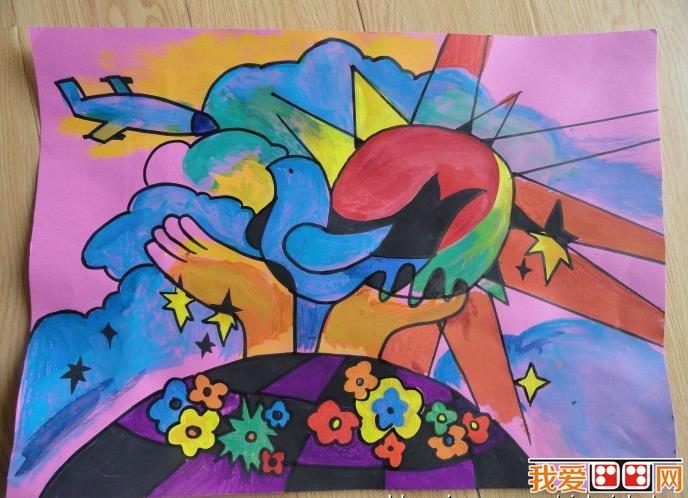 和平主题儿童水彩画优秀作品欣赏