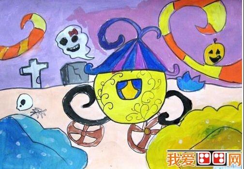 万圣节儿童水彩画作品欣赏   水彩画是用水调和透明颜料作画的一种图片