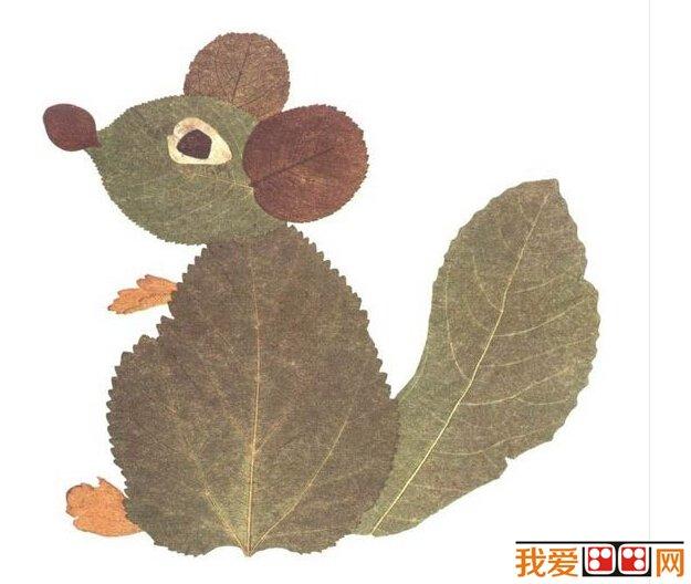儿童画 树叶贴画作品欣赏