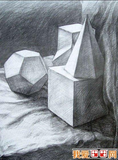 静物素描 石膏几何体优秀素描作品欣赏
