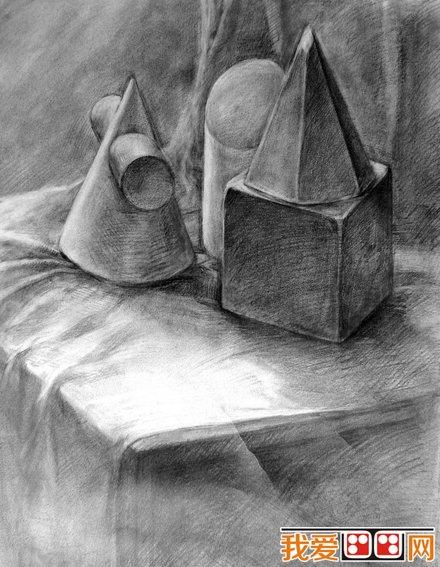 静物素描 石膏几何体优秀素描作品欣赏 2
