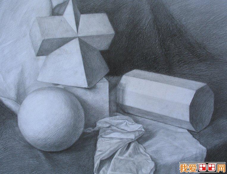 静物素描:石膏几何体优秀素描作品欣赏(3)