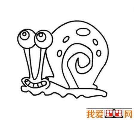 一幅可爱的蜗牛简笔画就这样完成了