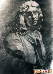 强烈质感写实素描静物和石膏像大卫优秀作品欣赏 3图片