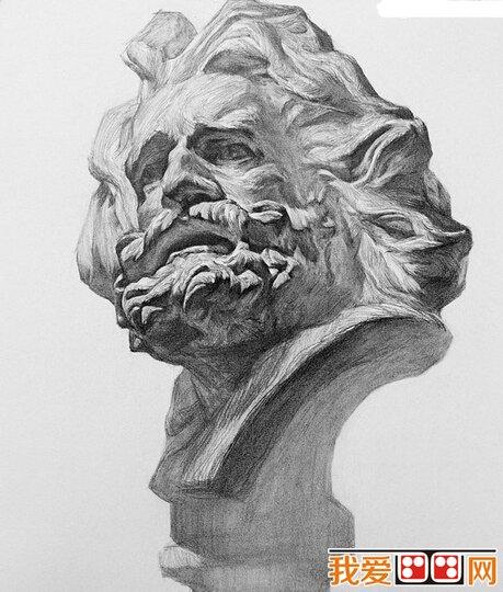 素描马赛石膏像步骤教程 3图片
