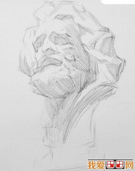 素描马赛石膏像步骤教程图片