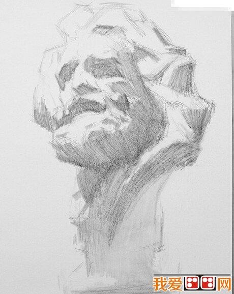 素描马赛石膏像步骤教程(2)
