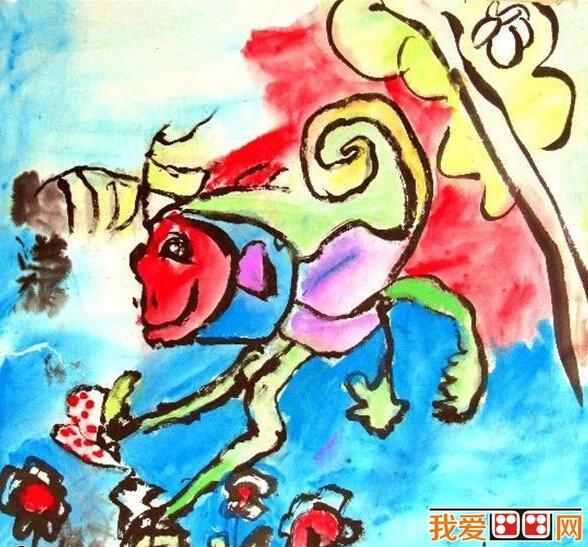 齐天大圣孙悟空儿童画作品欣赏(2)_儿童画教程_学画画