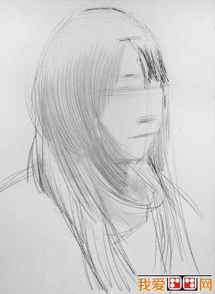 女青年人物头像素描教程