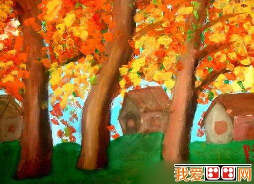 秋天儿童水彩画作品欣赏