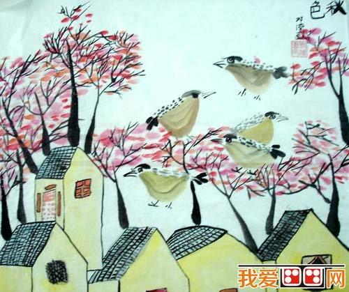 秋天儿童水彩画作品欣赏 5
