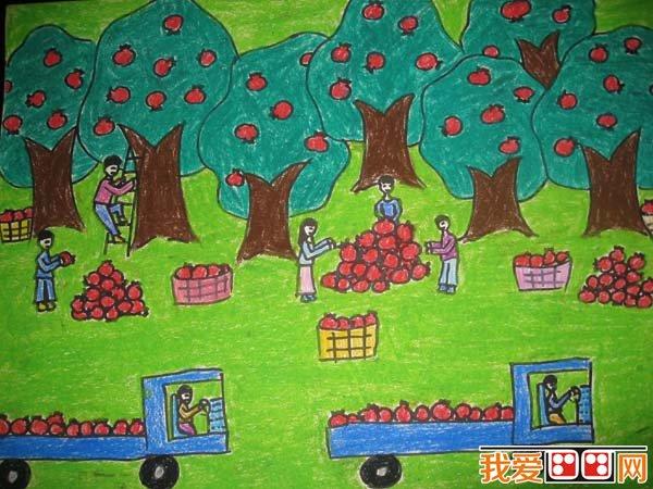 丰收的秋天儿童画作品欣赏 4
