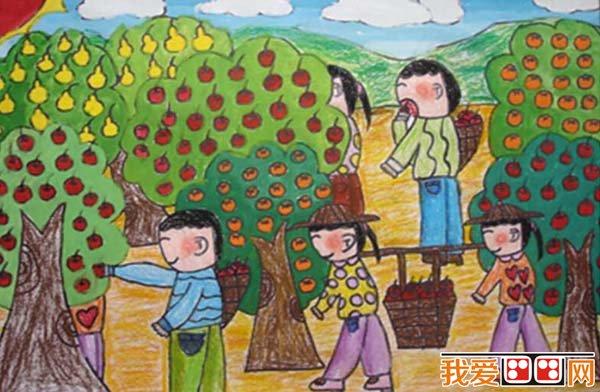 丰收的秋天儿童画作品欣赏 5