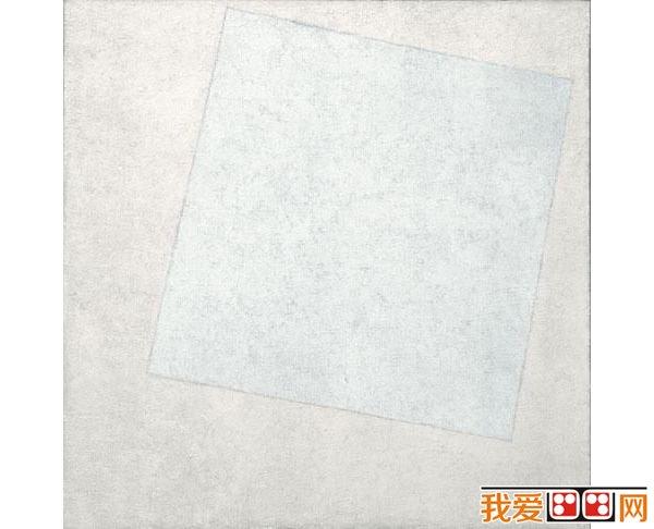 马列维奇油画作品白色上的白色
