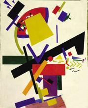 马列维奇绘画作品玩纸牌的人