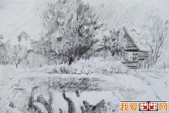 列宾风景素描作品欣赏(3)_素描教程_学画画_我爱画画网