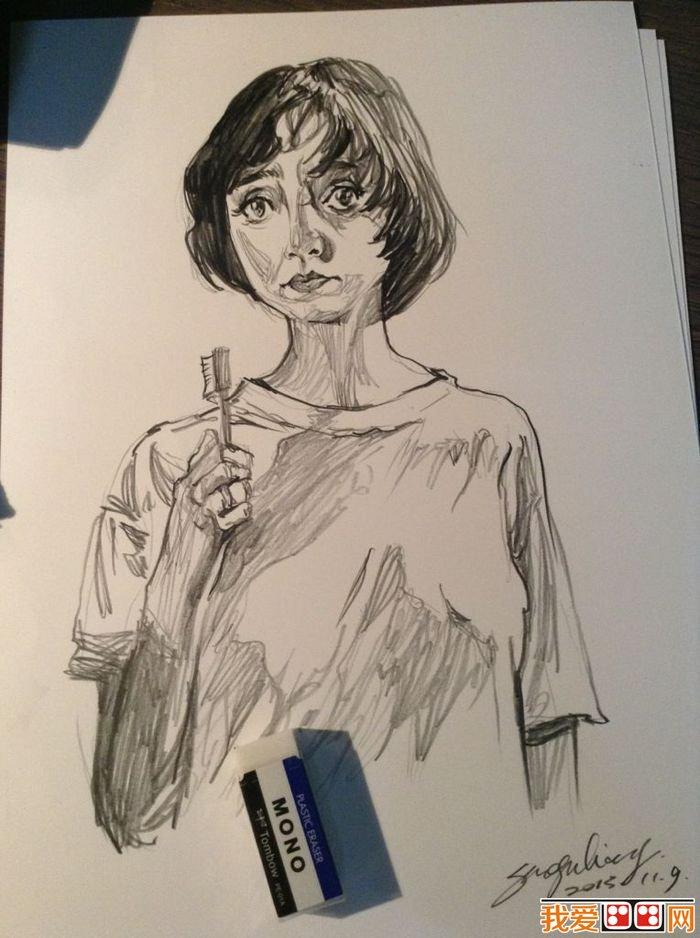 线条有力的速写人物头像作品欣赏