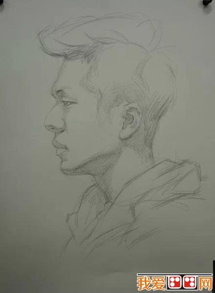 男青年侧面头像素描教程