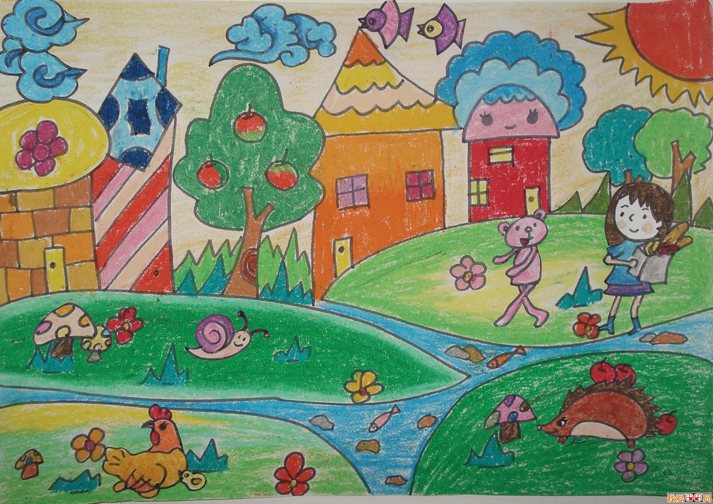 儿童画绿色家园作品欣赏图片