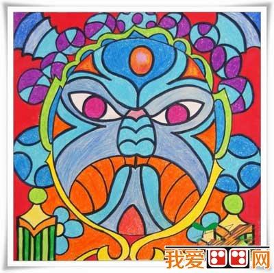 色彩丰富儿童画:戏剧脸谱(6)