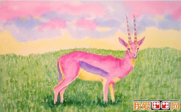 草原上的儿童动物水粉画作品欣赏