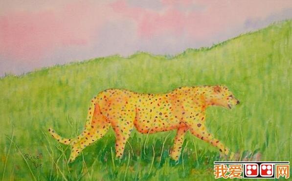 草原上的儿童动物水粉画作品欣赏_儿童画教程_学画画