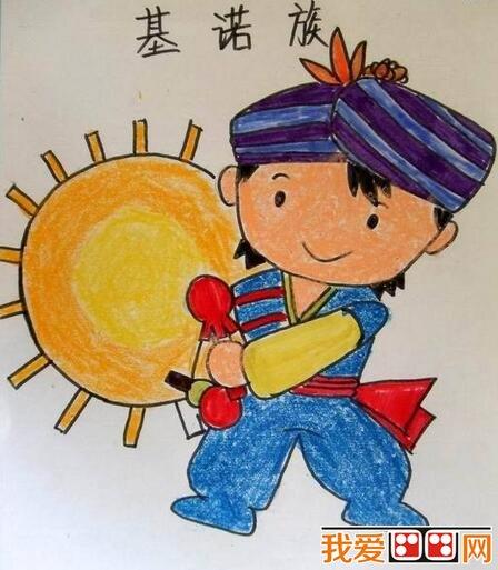 少数民族儿童肖像蜡笔画作品欣赏_儿童画教程_学画画-五一劳动节儿