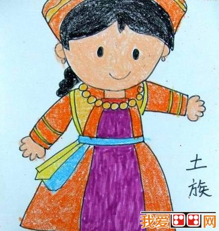 儿童蜡笔画:56个民族特色,快教孩子吧   怎么画56个民族的小朋友手