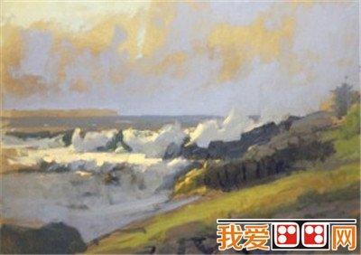 百科 世界名画 风景油画 > 海景油画教程(2)      四,添加颜色